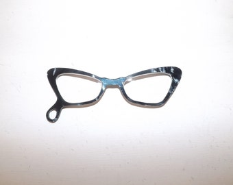 Vintage 1950s lucite hand held glasses spectacles cat eye specs in case
