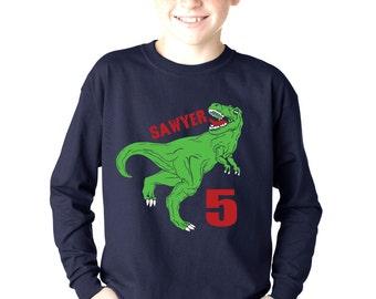 Personalized kids dinosaur birthday t shirt, T rex dinosaur long sleeve birthday shirt for boys, boys gift