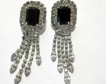 Black & Clear Rhinestone Dangle Earrings Vintage Fashion Glamour Jewelry