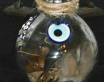 Protection Witch Ball - Witch Spell Bottle - Large Evil Eye Talisman/Amulet - Warding Protective - Hand Made by a Witch - Hoodoo Magic Hex