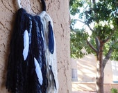 Good Vs Evil Moon Black and White Yarn Wall Dreamcatcher; Witchy Home Decor; Urban wall decor; Boho home decor;