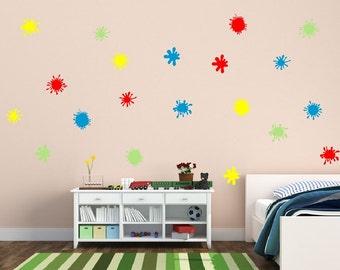 Paint Splatters Vinyl Wall Decal Set - Paint Splatter Decal Set - Kids Room Decals - Splatter Spot Decals 22260