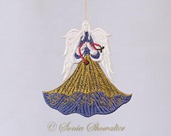 Angel of Healing, Awareness Angel, Machine Embroidery Angel, Lace Awareness Angel, Memorial Angel