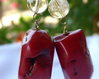 Coral Earrings with Citrine Beads, Sterling Silver Vintage Artisan Jewelry
