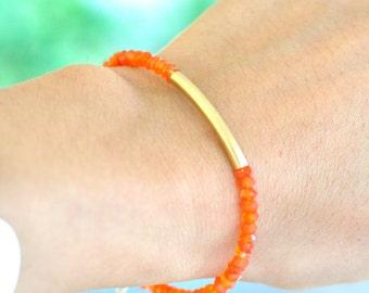 Carnelian Bracelet,  Orange stone Bracelet, Everyday Jewelry, Romantic Jewelry, Minimum jewelry, Minimalist, November Birthstone Jewelry