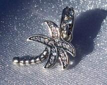 "Pandora ""Sparkling Palm Tree"" Charm Genuine Pandora CZ Dangle High Fashion Glam Bracelet Pendant FREE SHIPPING Pandora Gift Pouch Included"