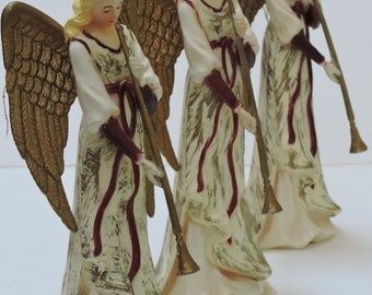 Vintage Angel Figurines,Plastic,Handcrafted for Silvestri,Christmas Ornaments,Christmas Decor,Keepsake