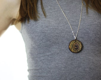 Peacock Feather Wood Pendant Necklace // Silver Plated Long Chain // Gift for Her
