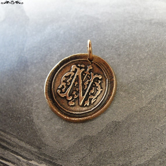 Wax Seal Charm Initial N - wax seal jewelry pendant alphabet charms Letter N by RQP Studio
