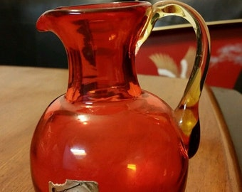 Pilgrim Glass Red Pitcher Hand blown Vintage Hand Blown glass Red Glass Red Pitcher