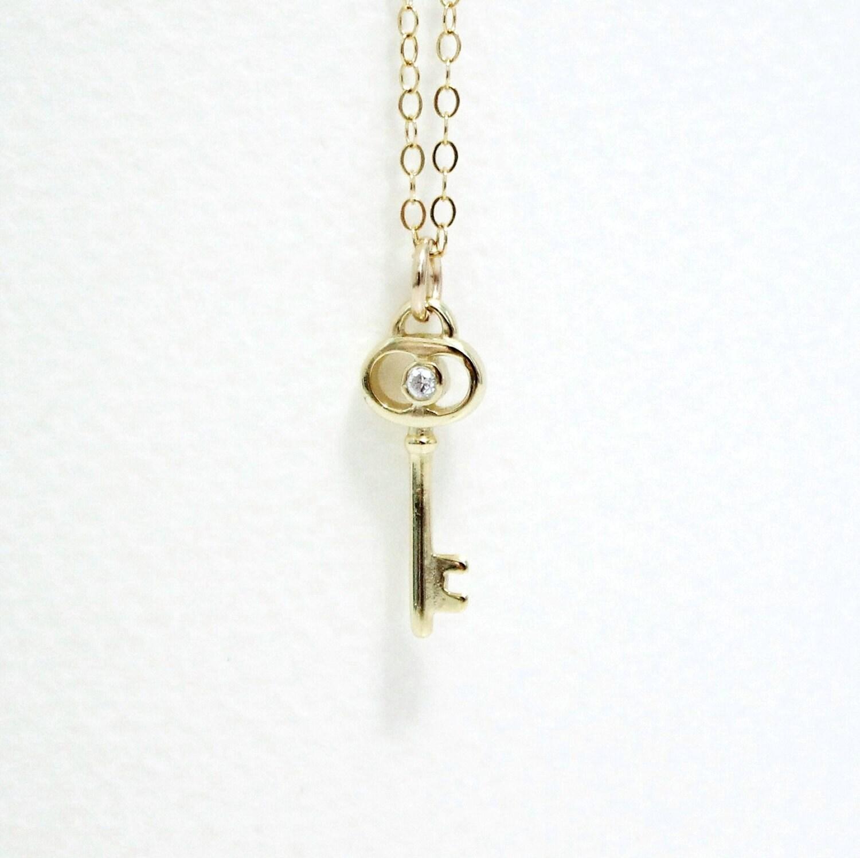 gold key necklace tiny key charm with teeny tiny cz
