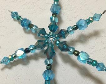 Snowflake, Beaded Snowflake, Aqua Beaded Christmas Ornament