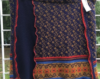 Sweater Skirt, Handcrafted from Recycled Wool Sweaters, Navy Red Brown, LG-XL,