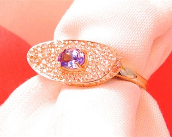 Sale!! Gorgeous Tanzanite and Diamond 14K 1.30 Carats Statement Ring, Cocktail Ring