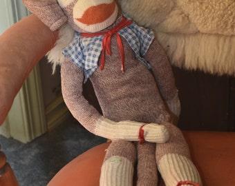 Vintage Sock Monkey, Handmade, 40s or 50s,