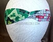 Shamrock Headband - Valentine's Crossword Reversible Headband - Elastic Band - Holiday - Teacher Gift - St. Pat's - OOAK - Ready to Ship