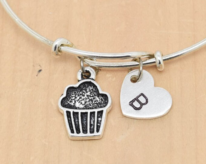 Cupcake Bangle, Sterling Silver Bangle, Cupcake Bracelet, Bridesmaid Gift, Personalized Bracelet, Charm Bangle, Initial Bracelet, Monogram