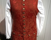 Men's Colonial Pirate Waistcoat Vest Costume Maroon Red Brocade Size Large READY TO SHIP!