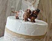 dachshund wedding cake topper dog puppy weiner dog animal lover decorations dog breeder weddings bride and groom Mr and Mrs dog cake topper