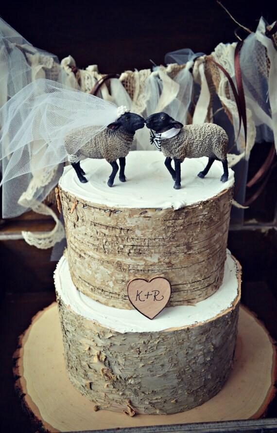 Black Sheep Lamb Farm Animal Country Themed Wedding Cake Topper Bride Groom Barn Rustic Ranch Grooms Cowboy Farmer Woodland