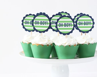 Oh Boy Cupcake Toppers Boy Baby Shower Cupcake Toppers Navy and Green Party Supplies Gender Reveal Party Baby Boy Shower Decor / Set of 12