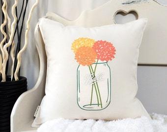 "18"" Hydrangea Ball Jar Pillow - Mason Jar Floral Pillow - Spring and Summer Decor - Vintage Inspired - Cotton Canvas - Toggle & Loop Closure"