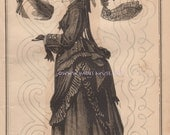 Mourning Dress-Pattern-Hat-Veil-Funeral-Costume-Victorian Era-Grief-Outfit-Clothes-Clothing-1873 Antique Vintage Art PRINT-Gothic Picture