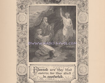 Blessed Who Mourn-Mary At Tomb-Death Of Jesus Christ-Angel Of Mercy-Comfort-1885 Antique Vintage Art Print-Gothic-Picture-Bible Quote-God