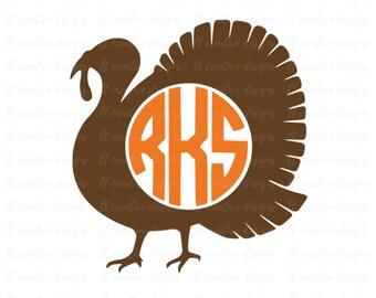 Turkey Monogram SVG, Thanksgiving SVG, Turkey SVG, Svg Files, Silhouette Files, Cricut Files