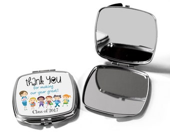 Teacher gift, Teacher Thank You End of Year Classroom gift, makeup mirror, compact, Teachers apple, Custom teacher gift,  graduation for her