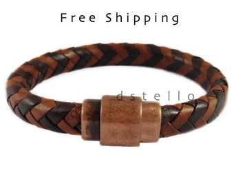Braid bracelet, Braided bracelet, Mens jewelry, Men's bracelet, Mens gift, Spanish leather, Antique copper magnetic clasp, Custom made, Cuff