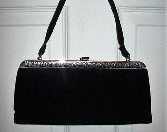 Vintage 1950s Ladies Black Clutch Bag by Bobbie Jerome Only 15 USD