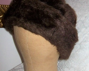 Vintage Unisex Faux Fur Russian Cossack Hat Cap Medium Only 6 USD