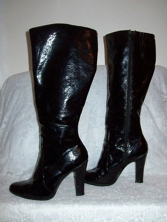 vintage black patent knee high go go boots by mossimo