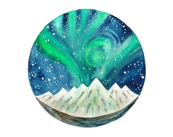 Original Watercolor painting Northern lights art Sky Stars Hand painted illustration blue green