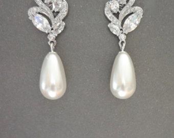 Pearl earrings ~ Cubic zirconia's - Brides earrings, Pearl drop earrings, Marquise cut, Wedding earrings, Bridal jewelry, Outstanding, LILLY