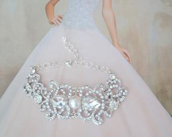 Pearl and rhinestone bracelet ~  Wedding cuff bracelet ~ Crystal bracelet ~ Brides bracelet ~ Bridal jewelry ~ Pearl bracelet ~ ANGELINA