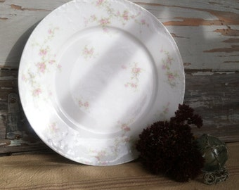 """Victorian Haviland Limoge Charger Plate """"Marie"""" - Vintage Fine China Serving Ware + Rose Wall Art, Country Wedding Decor, Vintage Gift"""