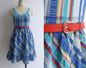 Vintage 80's 'Seersucker Plaid Ruffled Sun Dress XXS or XS