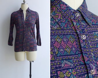 20% OFF (Code In Shop) - Vintage 80's Geometric Weave Print Cotton Jersey Collared Blouse XS or S