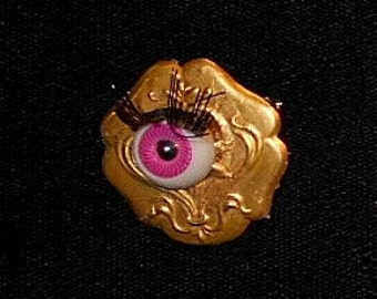 Small PINK Evil Eye in Vintage Brass Stamping Brooch/ Pendant ART Nouveau  I Added for Your Protection.  Only 29.90.  GP Necklace Available