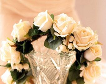 Rosehip - flower crown, hair circlet.  Cream roses, cream rosehip berries and foliage.