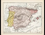 Small Spain Map of Spain Portugal Map of Portugal (Antique Map Wall Art, Early 1900s Vintage Decor Print) Nice Old Color Atlas Map No. 141-1