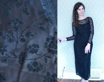 1990s Vintage Long Sleeve Black Maxi Dress w/ Sheer Lacey Overlay / Black Floral Print Sheer See Through Floor Length Gown / Medium M 5 6 7