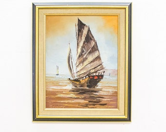 Vintage Oil Painting, Japanese Junk Boat at Sea, Signed Tom Wong