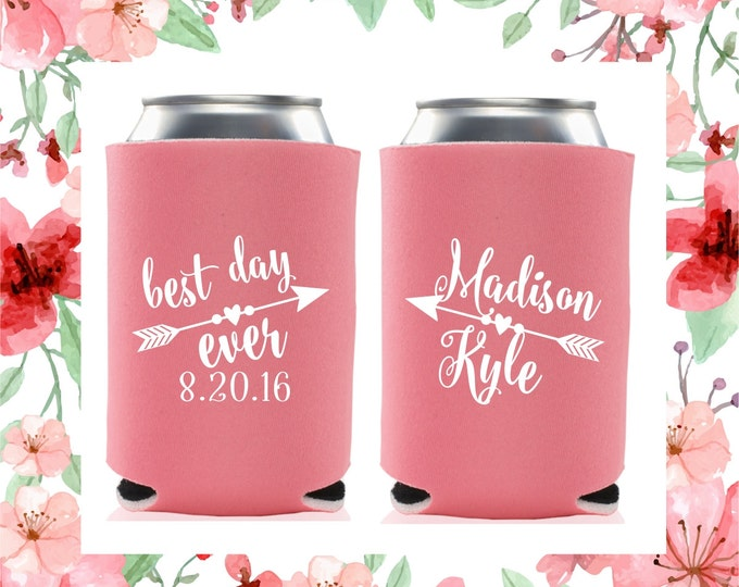 Wedding Can Coolers | Best Day Ever Wedding Favor | Personalized Can Cooler | FREE Standard Shipping