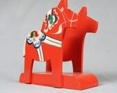 Orange Vintage Dala Horse Napkin Holder of Letter Holder