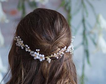 Pearl Bridal Hair Vine, Wedding Flower Headband, Boho Bohemian Headpiece with white pearls, crystlas, rhinestones