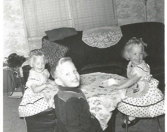 "Vintage Snapshot ""Cupcake Kid"" Cute Children At Birthday Party Cowboy Outfit Pretty Blonde Girls Polka Dot Dresses - Found Vernacular Photo"