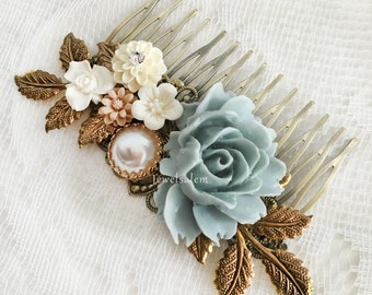Blue Hair Comb Rustic Brass Wedding Hair Slide Flower Hair Comb Romantic Bridesmaids Gift Dusty Blue Modern Bride Hair Adornment Hair Slide